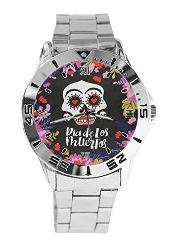 Dia De Los Muertos México Moda Mens Relojes de Pulsera Reloj Deportivo para Mujer Casual Acero Inoxidable Correa Analógico Reloj de Pulsera de Cuarzo