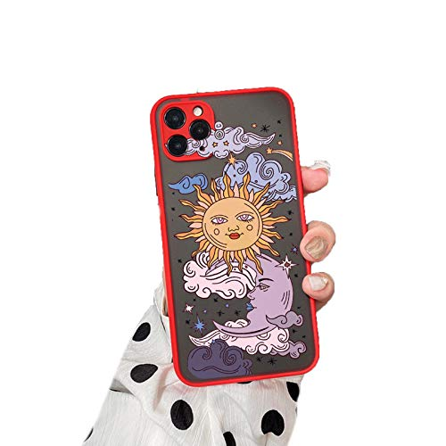 EYDLK Funny Sun Moon Face Shockproof Phone Case for iPhone 11 Pro 12 XR SE 20 Soft TPU Matte Candy Back Cover-5-for iPhone 12 Mini