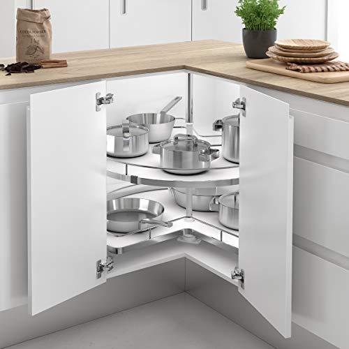 Casaenorden - Kit de 2 bandejas giratorias 270º con Base de melamina para Mueble de Cocina esquinero, 710 mm de Diámetro/Alto Producto mm 630-730