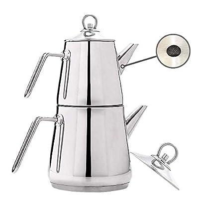 Turkish Tea Pots Set for Stove Top, Stainless Steel Double Teapot Set, Samovar Style Self-Strained Tea Kettle with Metal Handle (Medium)