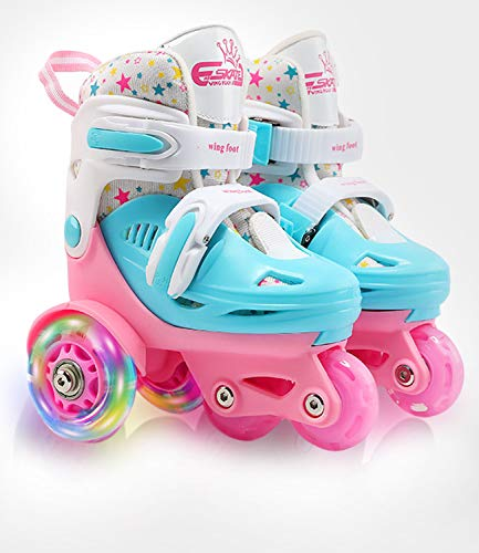 Adjustable Roller Skates for Kids Girls Ladies with Light Up Flash LED Wheels(Age 3-9)