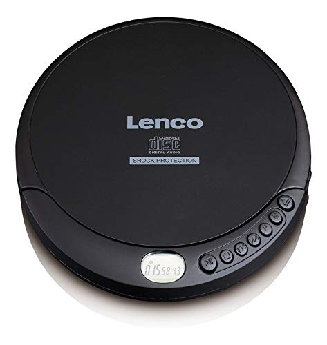 Lenco CD-Player CD-200 Discman mit LCD-Display, Batterie- und Netzfunktion, Inklusive Stereo-Kopfhörer, USB-Ladekabel Schwarz