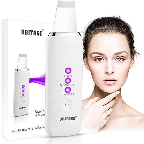 Ultraschall Gesicht Haut Scrubber, Ubitree Peeling Skin Scrubber Elektrischer Porenreiniger Mitesserentferner Hautreiniger Ultraschallpeelinggerät für Gesichtsreinigung Gesichtspflege Gesichtsmassage