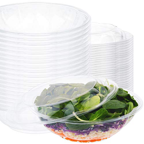 Plastic Salad Bowls with Lids (10 Count) 64 oz. Disposable Serving Bowls - Plastic Serving Bowls for Parties - Large Clear Plastic Bowls - Large Disposable Salad Bowl To-Go Container with Airtight Lid
