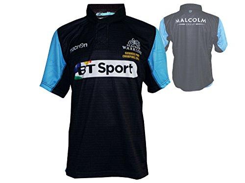 Macron Glasgow Warriors Home Rugby Jersey schwarz RugbyUnion League Champions Shirt Trikot Schottland, Größe:L