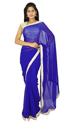 Desgaste del Partido Tradicional India Sari diseñador Georgette Sari Boda