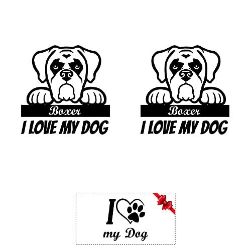 Sticker Mimo Pegatinas I Love My Dog Boxer: accesorios personalizados para tuning, coche, moto, caravana, autocaravana, calcomanías de corazón de animales – Perro (fantasía B; 50 cm)