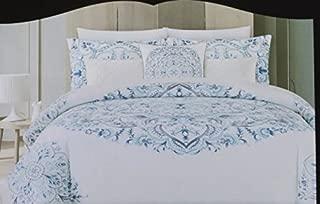 Cynthia Rowley King Duvet Cover Set Vintage Ornate Large Medallion Bohemian 3 Piece Blue White Cotton Bedding