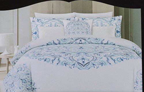 Cynthia Rowley Duvet Cover Set Vintage Ornate Large Medallion Bohemian Blue White Cotton Bedding (Full/Queen, Blue)