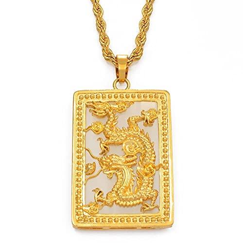 Collares Collar con colgante de dragón grande con piedra para hombres, joyería, adornos de mascota de color dorado, collares de la suerte de estilo chino, 45cm