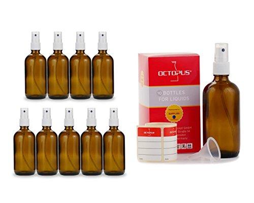 10 x 100 ml Braunglasflaschen mit Fingerzerstäuber, Mini-Trichter + Beschriftungsetiketten, Sprühflaschen mit Lichtschutz, Zerstäuberflaschen mit Pumpsprüher, z.B. für kolloidales Silber oder Parfüm