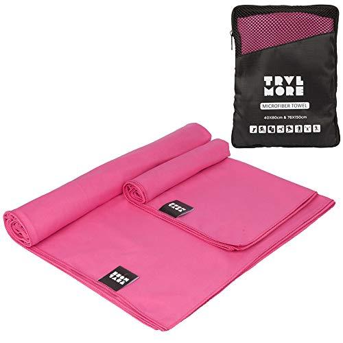 Microvezel Reishanddoek Set - 2 Stuks - Sneldrogende Lichtgewicht Handdoek - Voor Reizen, Fitness, Sport, Kamperen, Strand etc. - Microfiber Travel Towel - Large & Small - Roze