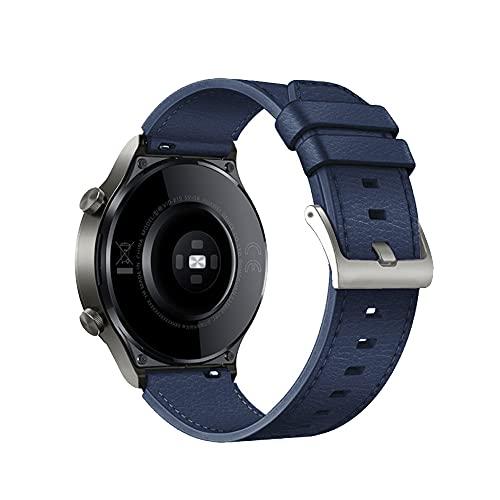 TopTen Correa de reloj de 22 mm compatible con HUAWEI WATCH GT2 Pro/GT 2e/GT 46mm/GT2 46mm/GT Active/Watch 2 Pro correa, correa de cuero de repuesto (azul)