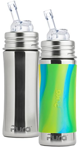 Great Deal! Pura Kiki Stainless Steel Straw Bottle, 11 Ounce, Set of 2, Aqua Swirl and Natural Mirro...