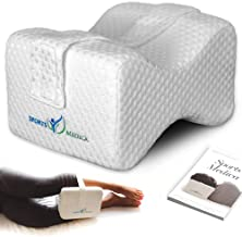 Knee Pillow Designed for Sciatica, Pregnancy, Knee and Hip Pain Relief - Doctor Recommended Leg Pillow for Side Sleepers to Reduce Lower Back Pain - Includes Instructional Handbook (White)
