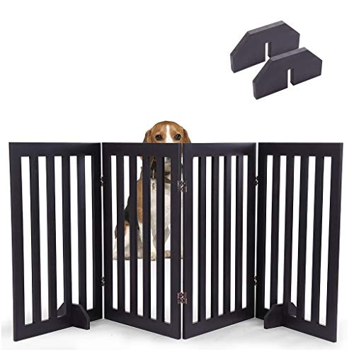 Pet Dog Gates Stairs,Best Pet Gate with Arched Top 4 Panel -31.5 Inch Step Over Fence - Free Standing Folding Z Shape Indoor Doorway Hall Stairs Dog Puppy Gate - Fully Assembled