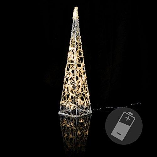 Nipach LED Pyramide Lichterkegel – Beleuchtung für Weihnachten innen außen – Acryl-Figur Batterie & Timer – 30 Leuchten warm weiß 60 cm hoch