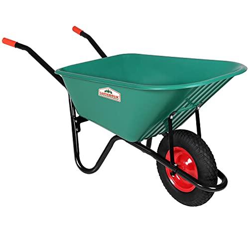 Gardebruk Schubkarre 100 Liter Bauschubkarre Gartenschubkarre bis 150kg Belastbarkeit Luftreifen stabile Ausführung mit Kunstoffwanne