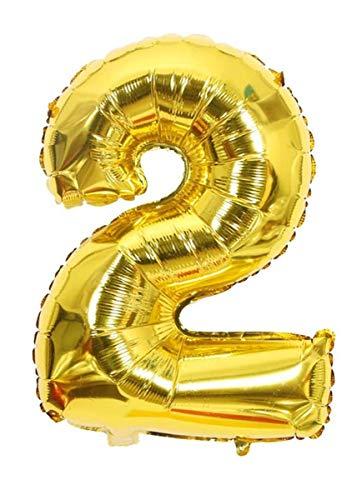 Globo Número 2 Gigante Dorado para cumpleaños, aniversarios, decoración, fiestas