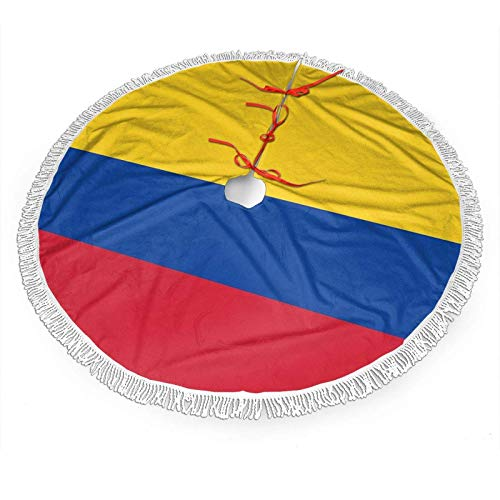 FORGA Bandera de Colombia Falda de árbol de Navidad de poliéster, Falda de árbol de Navidad de Encaje con Flecos, Decoración de árbol de Navidad Fiesta Familiar Fiesta navideña