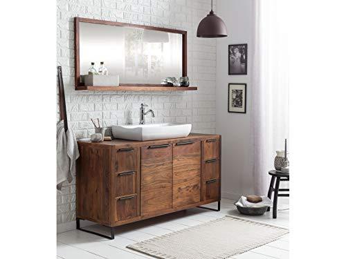 Woodkings® Badset, 2teilig, Waschtisch mit Spiegel Sydney Echtholz Waschtischunterschrank Badmöbel Badezimmer Möbel Holz Unterschrank Badschrank (Akazie dunkel, 138x45)