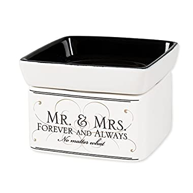 Elanze Designs Mr & Mrs Forever and Always Electric 2 in 1 Jar Candle Wax Tart Oil Warmer