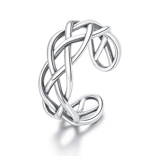 Anillo ajustable para niña, plata de ley 925, textura tejida, anillos abiertos para mujer, joyería de boda