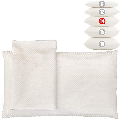 MABAMAHO Probiotic Nackenstützkissen 80x40cm Höhe 14cm Maschinell Waschbar. Das orthopädische Kopfkissen in 7 Varianten für alle Schlafarten. Hypoallergen mit gratis 2. Bezug mit Silberionen