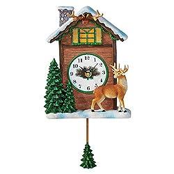 Collections Etc Hand Painted Winter Northwoods Deer Pendulum Clock