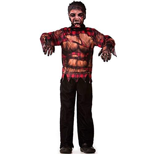 Fantasia Lobisomem Infantil Masculino de Halloween Com Máscara e Luvas GG 11-12
