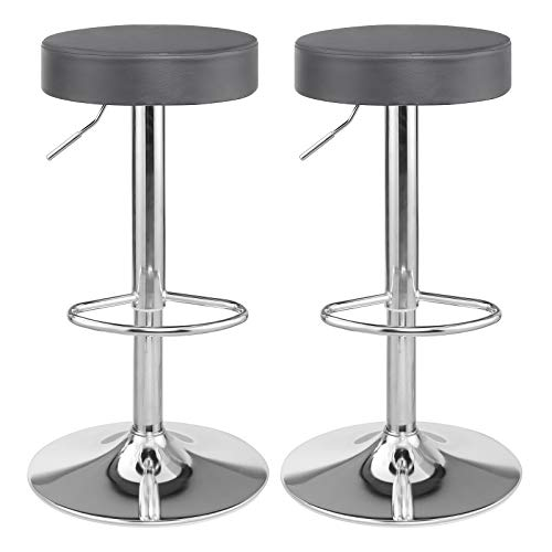 SONGMICS Bar Stool Set of 2, Height Adjustable Bar Chairs in Synthetic Leather, 360° Swivel Kitchen Stool with Footrest, Chrome-Plated Steel, Dark Grey LJB01GYZUK