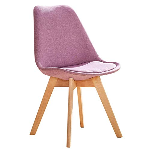 YLLN Dining Chairs Fabric Solid Wood Lounge Chair Desk Chair Learning Chair Personalized Makeup Stool Office Casual Tea Chair Load-Bearing (Color : Lavender)