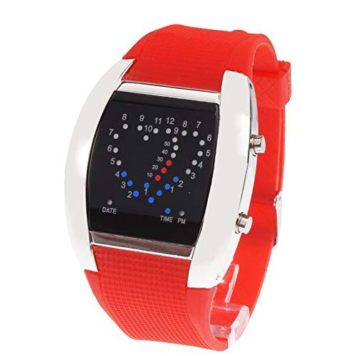 DMXYY-Reloj Moda- Deportivo Azul y Rojo de la luz LED Digital/Reloj de Pulsera Reloj con Fecha (Rojo). (Color : Red)