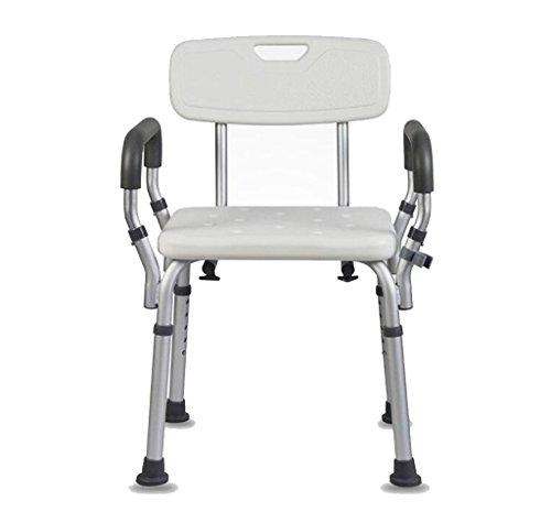 XUSHEN-HU Silla de ducha, altura ajustable, con brazos y respaldo acolchado, compatible con ancianos, asiento de baño para discapacitados, banco de baño, baño