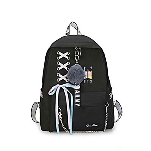 FaLaidi Kpop BTS Bangtan Boys Casual Printing Backpack, Unisex Canvas Shoulder Schoolbag Nice Gift for BTS fans