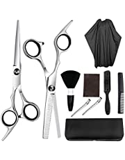 Coxeer 9PCS Hair Cutting Set Creative Stainless Steel Hair Scissors Razor Edge Scissor