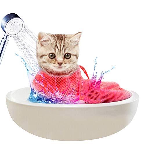 Diealles Shine Bolsa de Aseo para Gatos, Ajustable Bolsa de Baño Gato para Ducha, Limpieza de Orejas, Corte de Unas, Alimentacion de Medicamentos