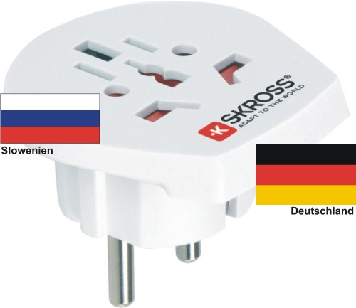 Reisadapter - buitenlandse adapter naar Duitsland Schuko-stekker - stroomnetadapter voor stekkers uit Slovenië 220-230V omzettingsstekker reisstekker German Travel Adapter Slovenia