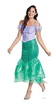 Disguise Women s Disney Princess The Little Mermaid Ariel Deluxe Adult Costume Green & Purple L  12-14