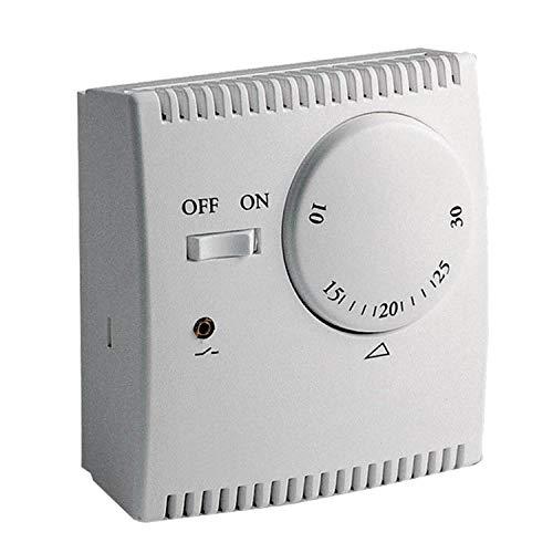 KPS Termostato analógico para calefacción o aire acondicionado con interruptor ON/OFF, Conexión 2 hilos, 5ºC a +30ºC
