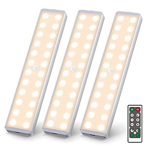 Uooser LED Unterbauleuchte mit Bewegungsmelder Fernbedienung 3 Stück Küche 24er LEDs Sensor Leiste Dimmbar Lichtleiste USB Wiederaufladbar Nachtlicht Schrankbeleuchtung Warmweiß Kleiderschrank