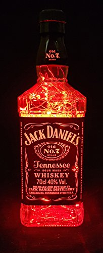 Jack Daniels – Lámpara de botella con 100 LED, color rojo