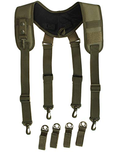Tactical suspenders Duty Belt Harness Padded Adjustable Tool Belt Suspenders with Key Chin and Velcro Patch (Coyote Brown)