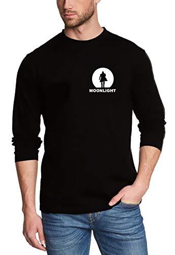 Coole-Fun-T-Shirts Moonlight Langarm schwarz/Weiss Alex O'Loughlin GR.XL