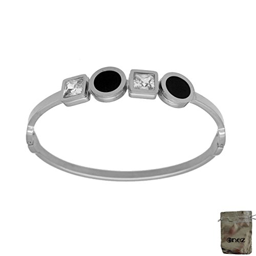 Original Enez Edelstahl Armband Armreifen Silber Ø 6,0 cm Breite 10mm T373 + Geschenkbeutel