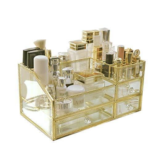 Preisvergleich Produktbild LRXG Make-up-Veranstalter Cosmetic Storage Rack Korb,  Organizer Golden Glass Desktop Schminktisch Hautpflege-Produkte Kosmetiktabletts