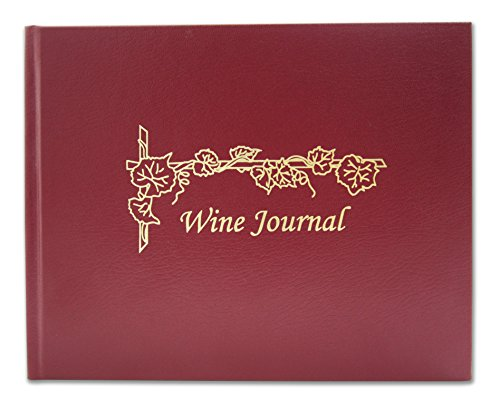 """BookFactory Wine Journal/Wine Log Book/Wine Collector�s Diary/Wine Notebook - Burgundy Leather Cover - 72 Pages Smyth Sewn Hardbound 8 7/8"""" x 7"""" (LOG-072-XLO-TWR-WINE-XMT43R)"""
