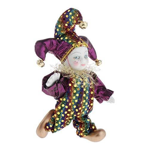 perfeclan 6,3 '' Triangel Puppe Porzellan Clown Puppe Harlekin Puppe Mit Hut Kleidung Für Kinder Kinderspielzeug, Dekoration Ornament