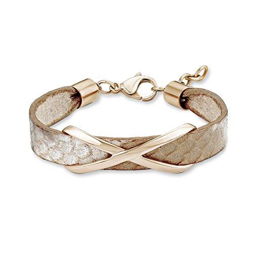 s. Oliver Damen-Armband Edelstahl teilvergoldet Leder 19 cm - 540216