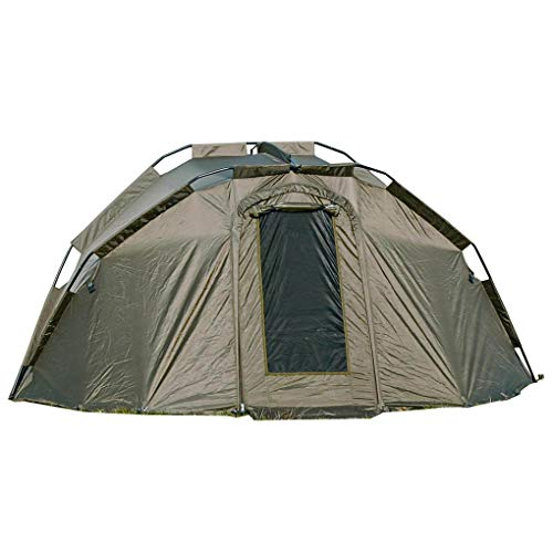 WSB Deluxe 2 Man Bivvy Tent - 310 x 137cm - Dark Green - Aerodynamically designed - Double and Treble Pegging Options and Mesh Fly Screen